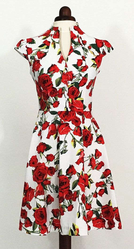 Summer dress floral dress vintage style dress red and by Valdenize