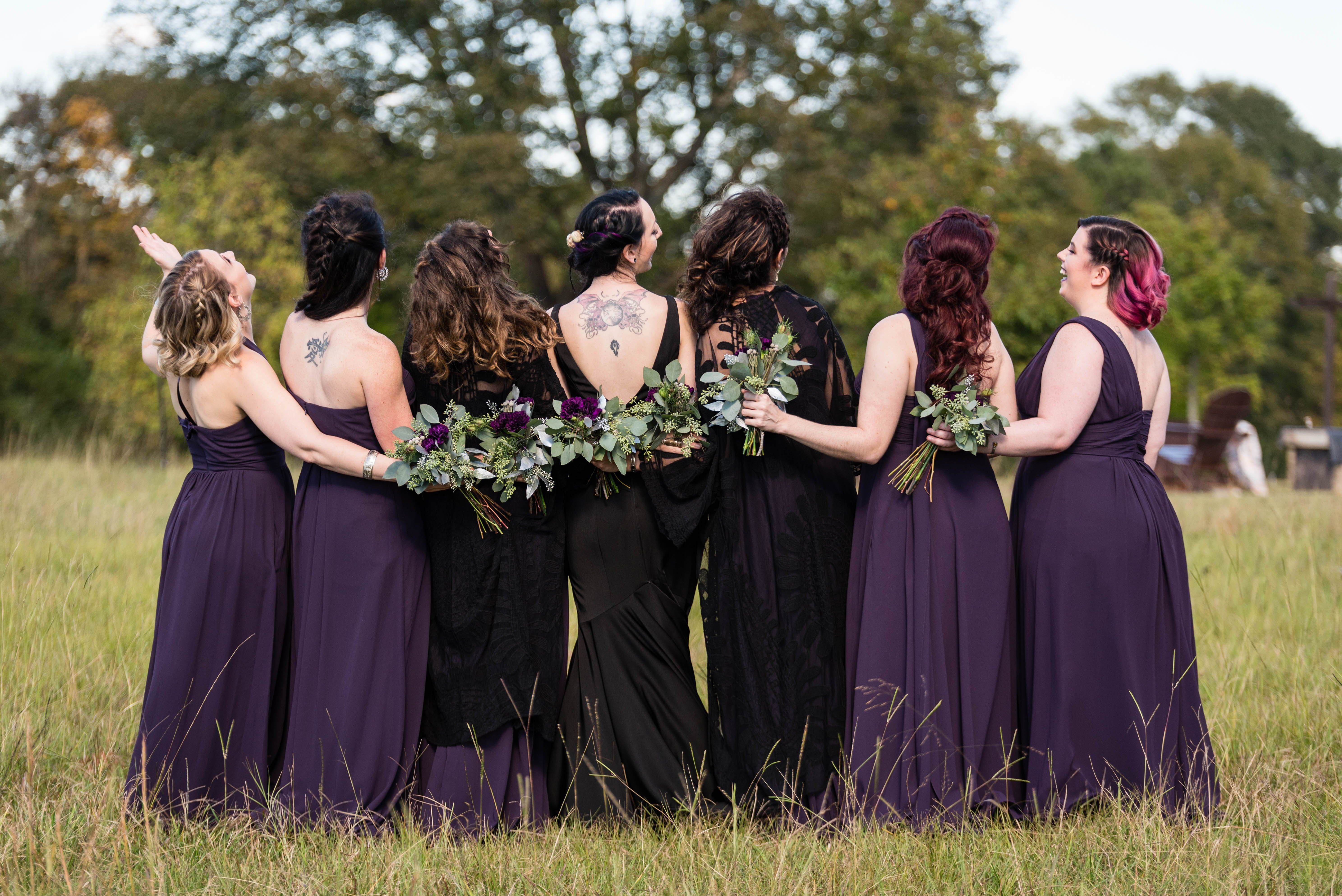 Our First Goth Wedding At The Barn And We Loved It Every Detail Pepper Sprout Barn Dark Purple Bridesmaid Dresses Purple Wedding Dress Dark Purple Wedding [ 3973 x 5951 Pixel ]
