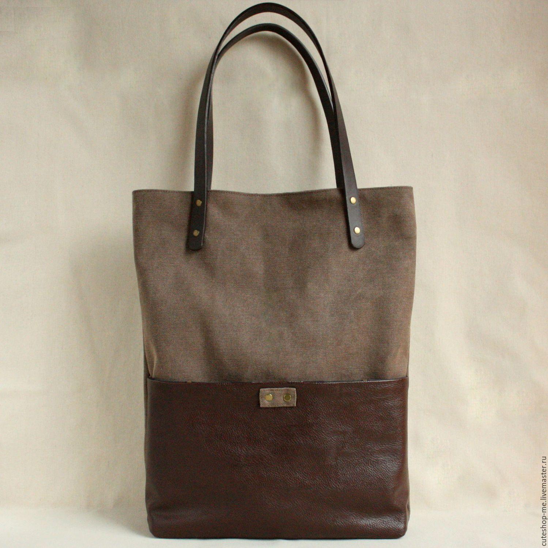 Cумка на каждый день, коричневый, толстый холст, bag