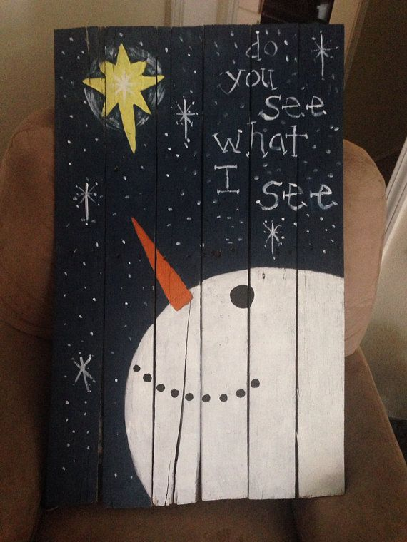 Christmas painting on wood pallet by craftsbymaggi on etsy for Crafts made out of pallets