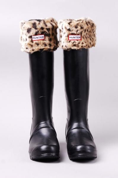 Hunter Leopard Cuff Welly Socks in