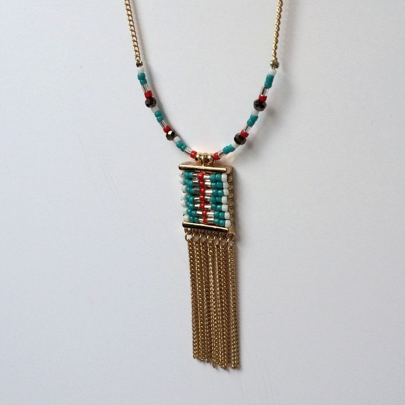 """#Collier ethnique bleu """"Cartouche"""" perles colorées look tendance"""
