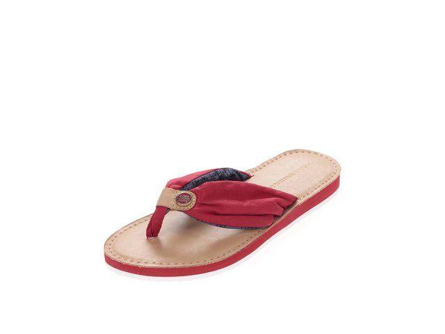 504f5d754b7 Červené kožené dámské žabky Tommy Hilfiger -