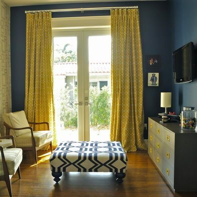 Navy and yellow colour scheme; Navy feature wall with yellow ...