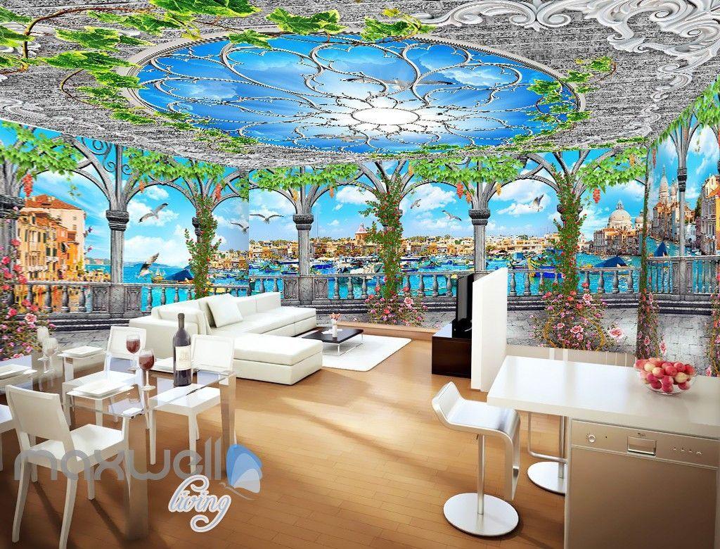 3D Flower Vine Pegola Blue Sky Ceiling Wall Murals