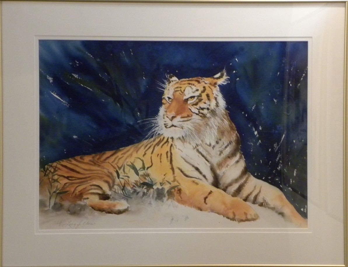 Michael S Tiger Watercolor 22 X 30 Image Painting Animal Tattoo Art