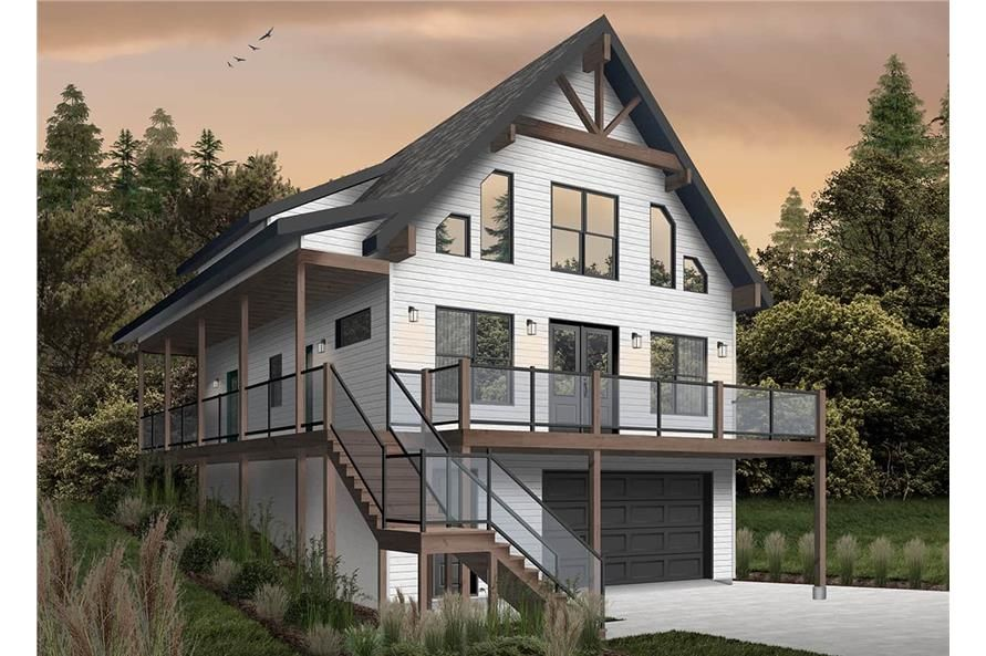 Contemporary Home 4 Bedrms 3 Baths 2055 Sq Ft Plan 126 1977 Vacation House Plans Lake House Plans Lake Front House Plans