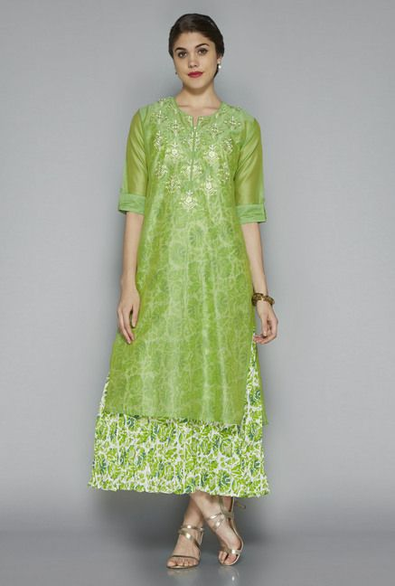e5bba9a6e ... Women Online @ Tata CLiQ. Vark by Westside Green Embroidered Suit Set