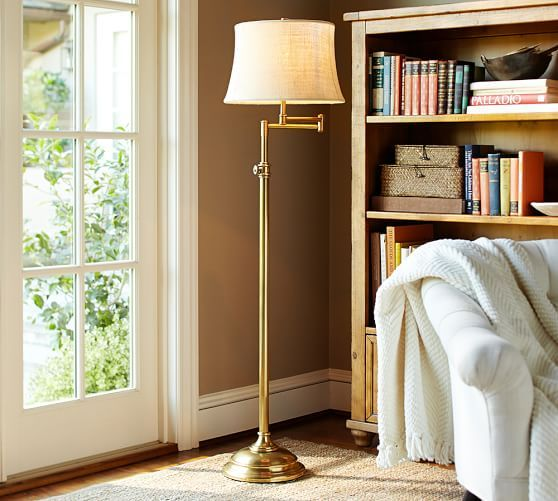 Living room in oil rubbed bronze finishelsea swing arm floor pottery barn chelsea swing arm floor lamp base but in antique nickel finish mozeypictures Image collections