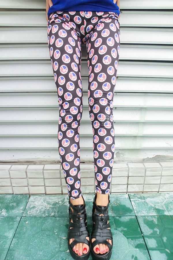 Cute Floral Print Leggings - OASAP.com