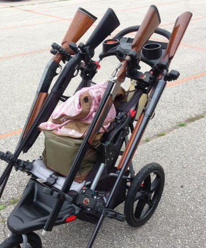 Completed Modified Stroller Showing Pivoting Mounts