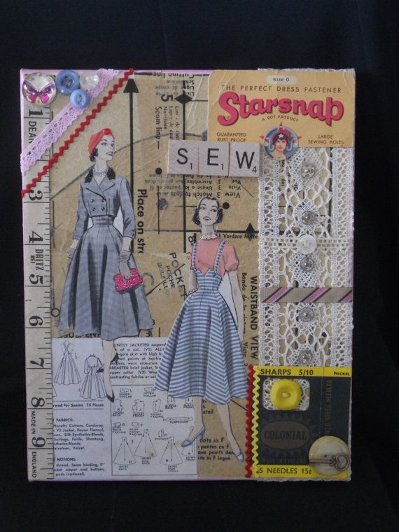 Pattern paper art collage, Vintage sewing art collage, Sewing room ...