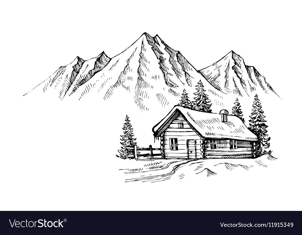 Hand Drawn Mountains Vector Image On Vectorstock Mountain Drawing Landscape Drawing Easy Landscape Pencil Drawings
