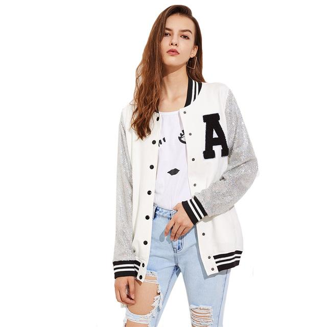 A Patch Sequin Sleeve Stripe Trim Baseball Jacket Baseball Jacket Women Baseball Jacket Jackets For Women