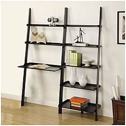 Black 5 Tier 2 Piece Leaning Ladder Shelf With Laptop Desk Set Ping The Best Deals On Media Bookshelves