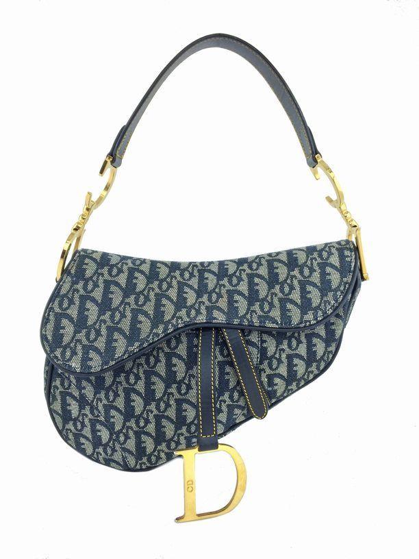 Christian Dior Monogram Canvas Medium Saddle Bag Blue  20737faae797a