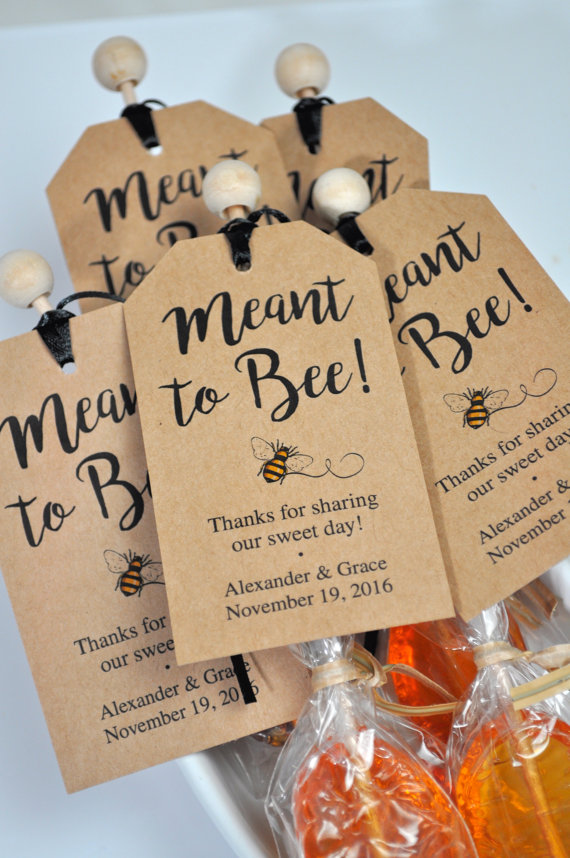 Set of 50 Personalized Meant to Bee Favor Tags for Weddings Choose your Cardstock Color