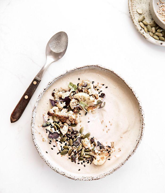 cauliflower + hazelnut soup with fried sage