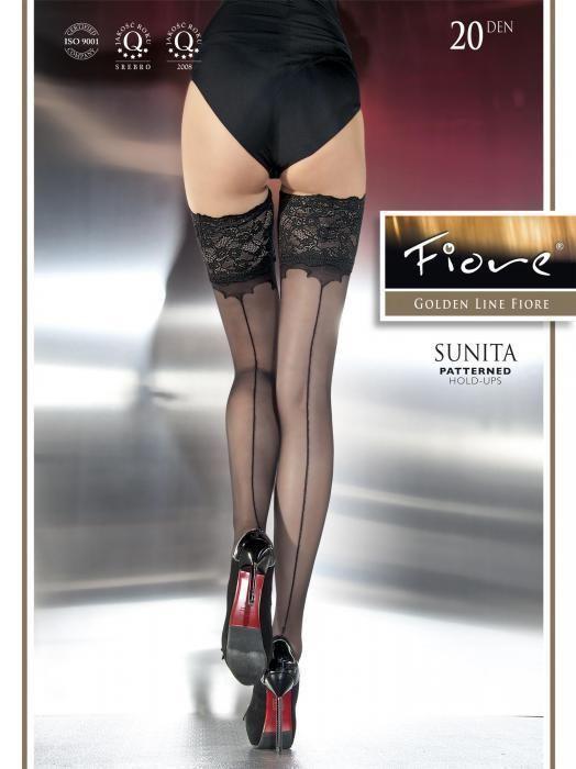 c011c0ab01f Fiore Sunita Back Seam Hold Up Stockings 3 Sizes Fine European Hosiery Black