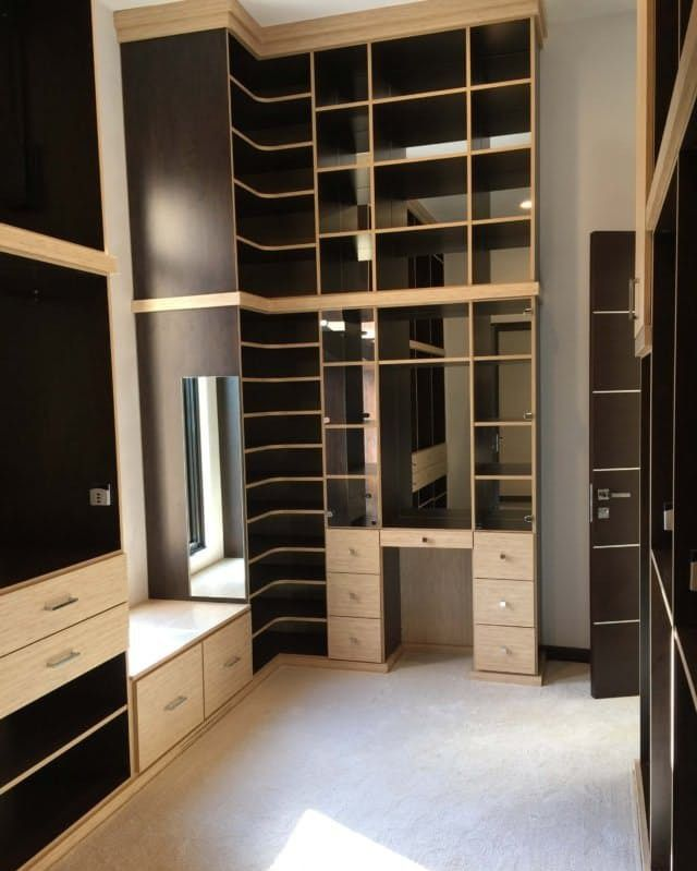 Comprised Of A Combination Of Chocolate Apple Melamine And Textured Bamboo Melamine This Closet Features Mirrore Closet Factory Custom Cabinets Window Benches