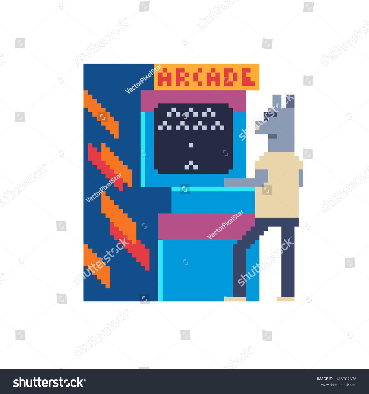 Arcade Game Retro Machine And Animal Character Playing Classic