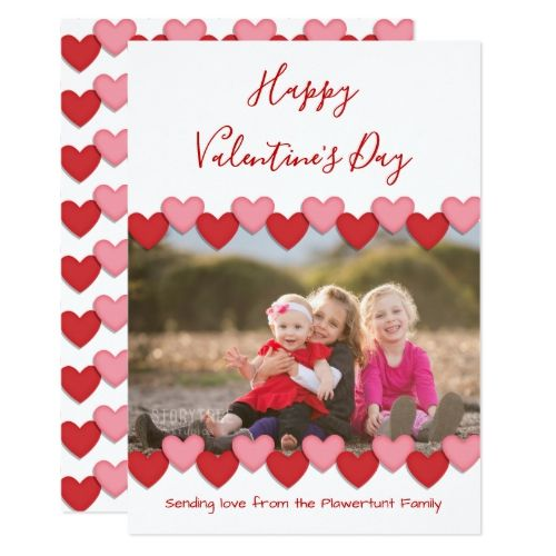 Happy Valentines Day Photo | Flat Greeting Card