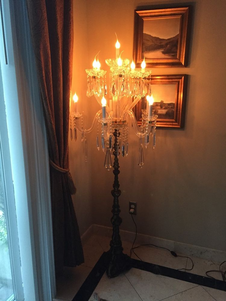 11Light Crystal Candelabra Chandelier Floor Lamp Antique