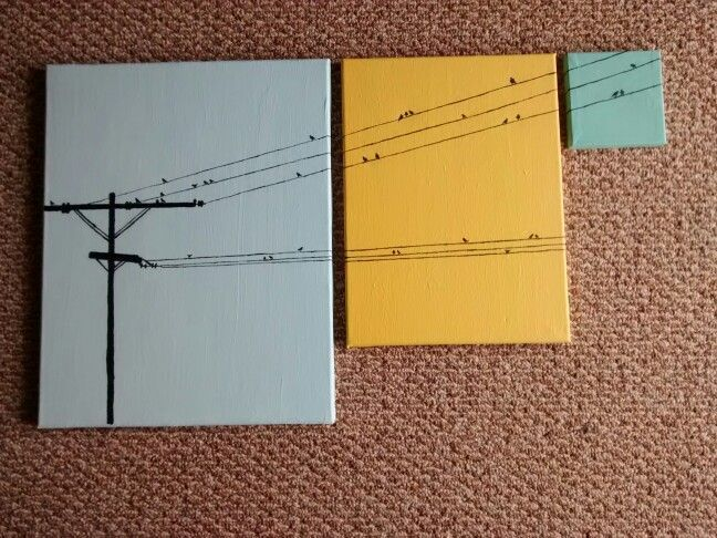 Today's snow day was spent creating this minimalistic three canvas painting of birds on a power wire. Just amateur art but simple and fun