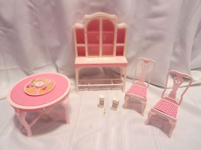 Vintage 1980s Barbie Fashion Dining Room Set Tables Chairs Hutch Accessories Lot