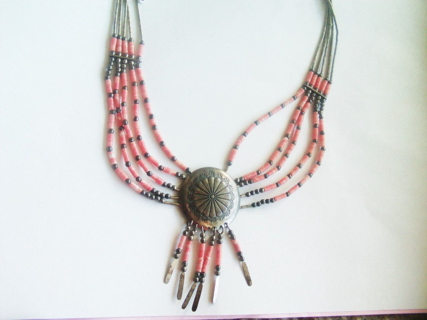 American Indian Jewelry / Coral Necklace / Coral Jewelry / Sterling Necklace / Sterling Jewelry / Indian Necklace / by TamJewelryandUniques on Etsy