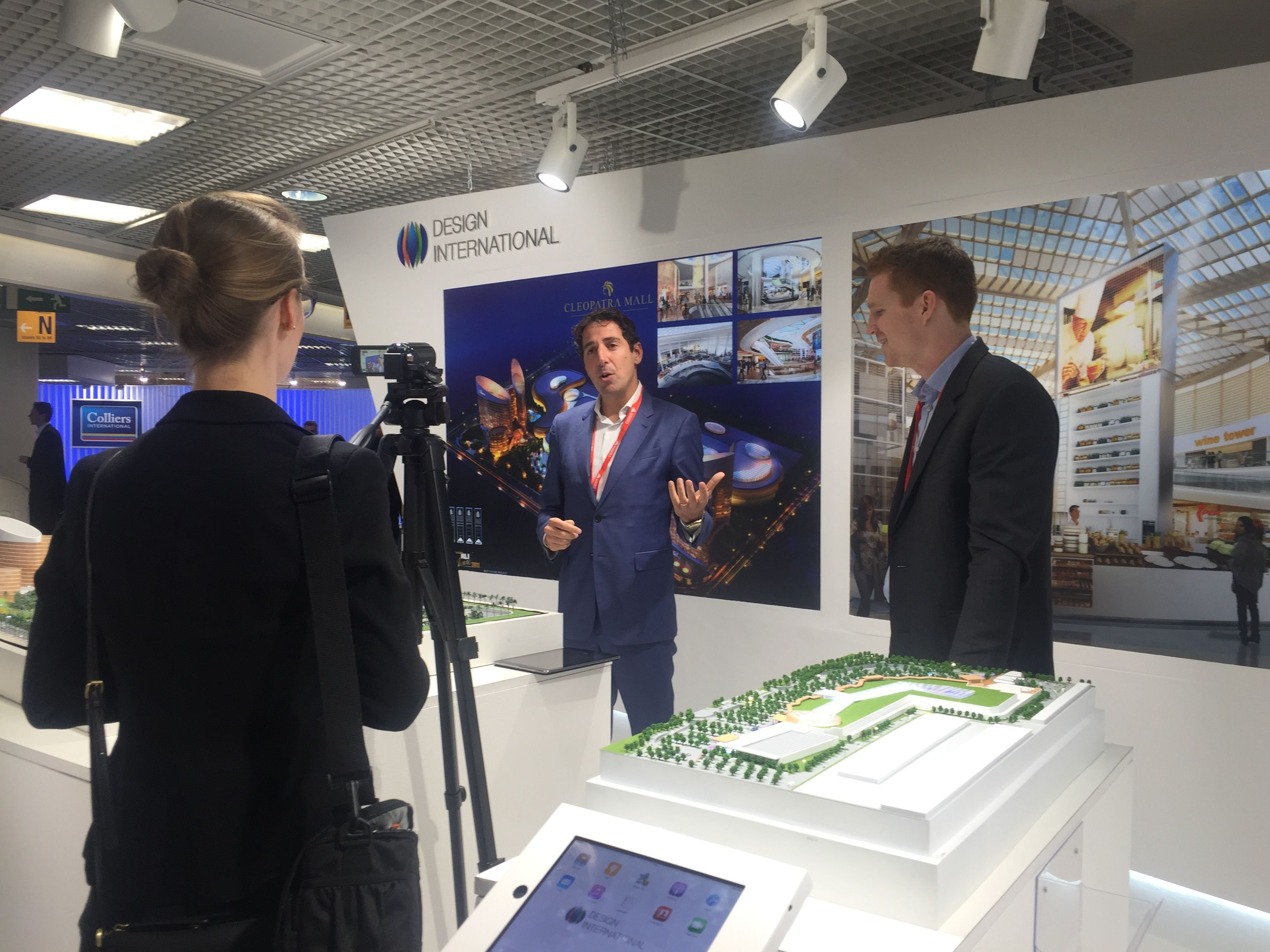 Davide Padoa, CEO, being interviewed at #MIPIM #Tradeshow #conference #realestate #exhibition #architects #architecture #design #BIM #models #architecturalmodels