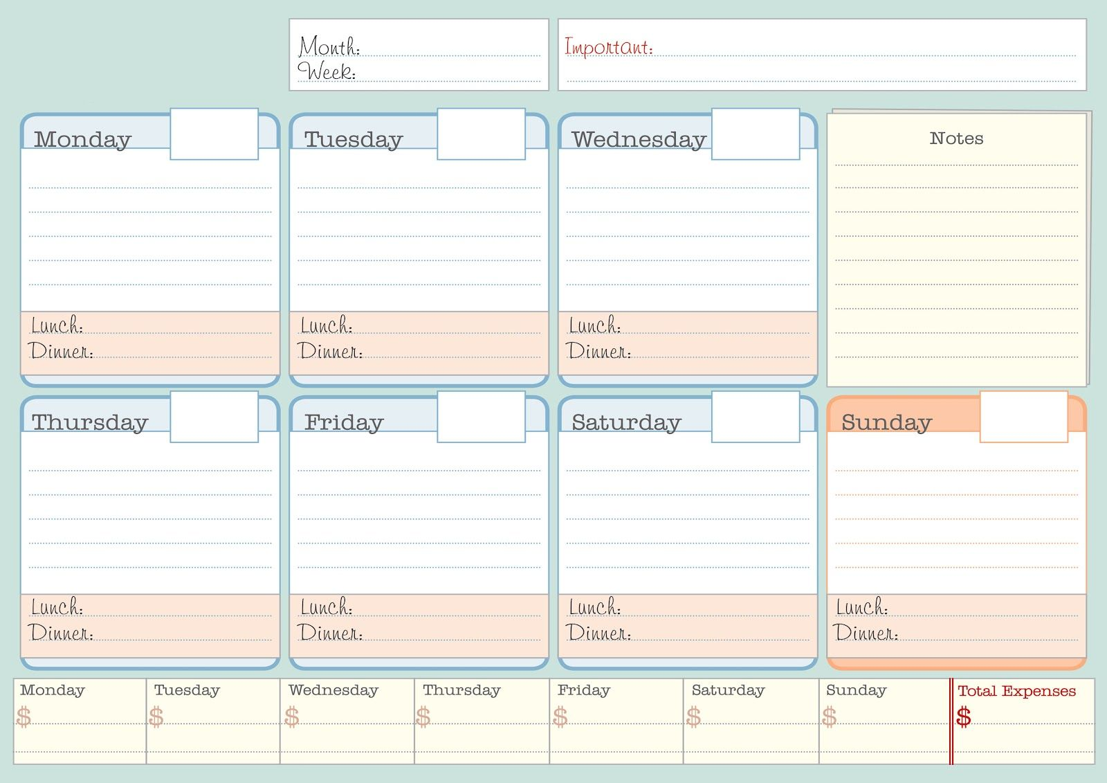 Calendar Planner To Print : Simple weekly planner printable student