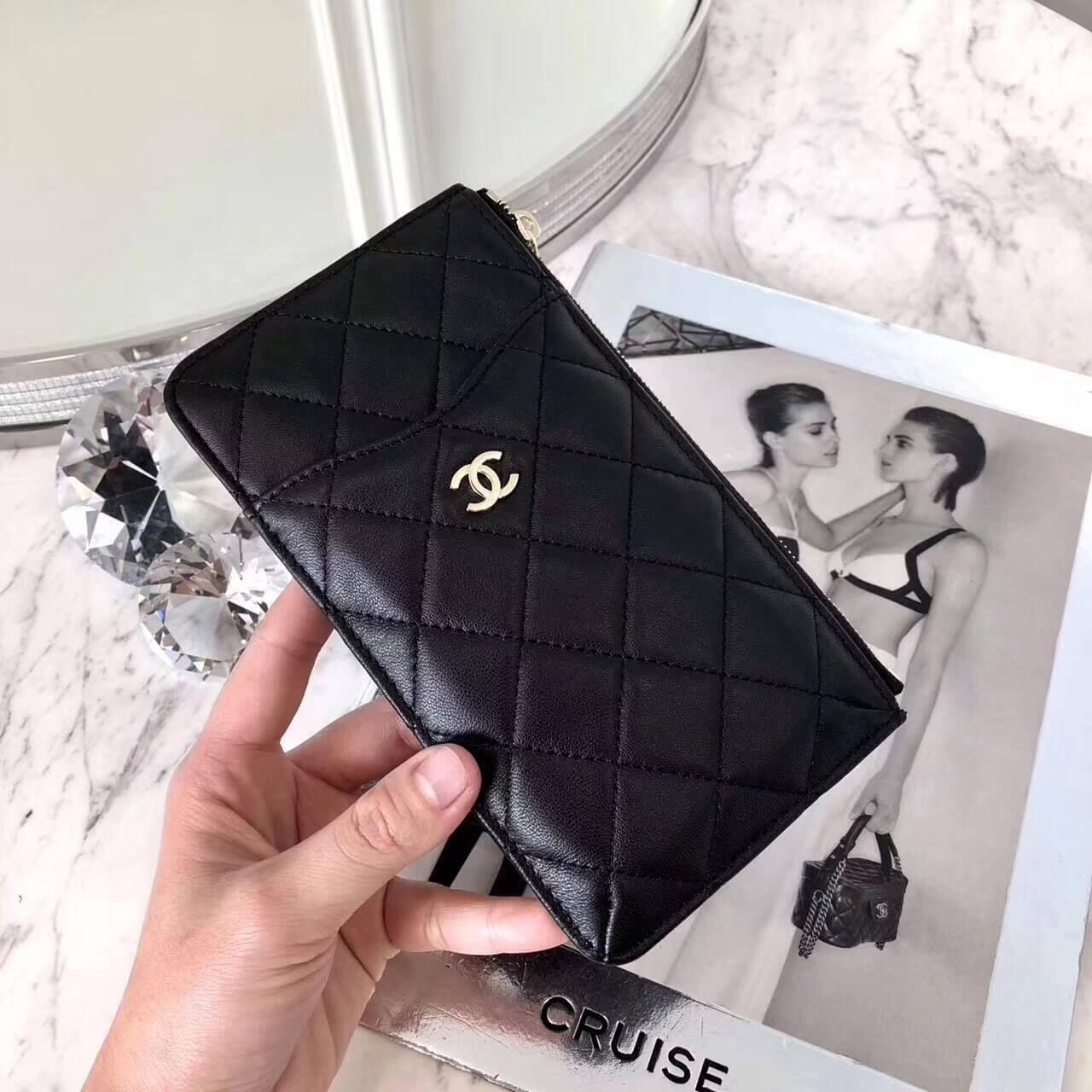 c514ced6e87ff6 Chanel Black Calfskin Classic Flat Wallet Pouch Phone Holder A84402 2018