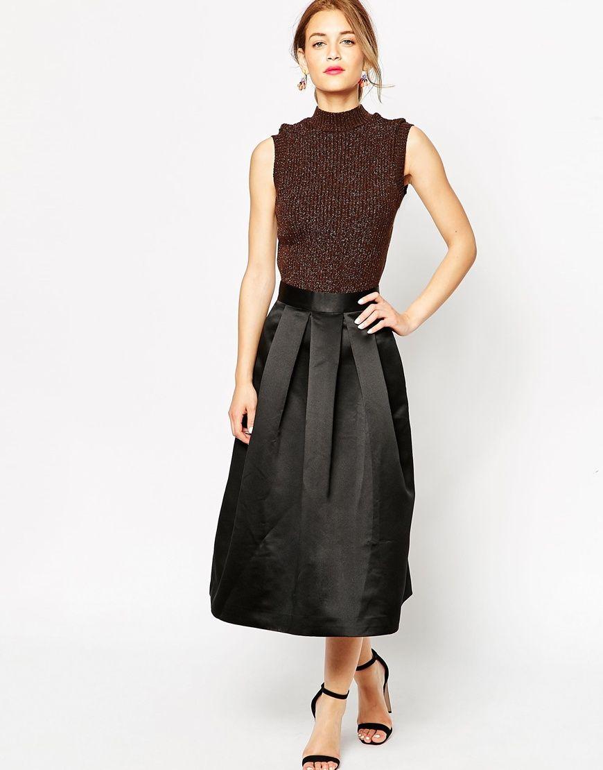 Lulu u co duchess satin prom midi skirt current fashion buyus