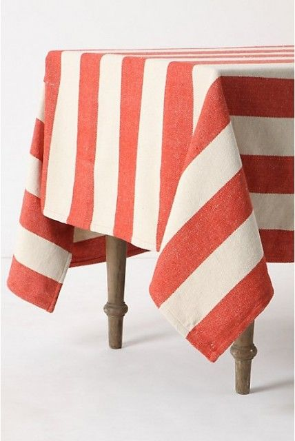 Charming DIY Anthro Inspired Red And White Striped Tablecloth