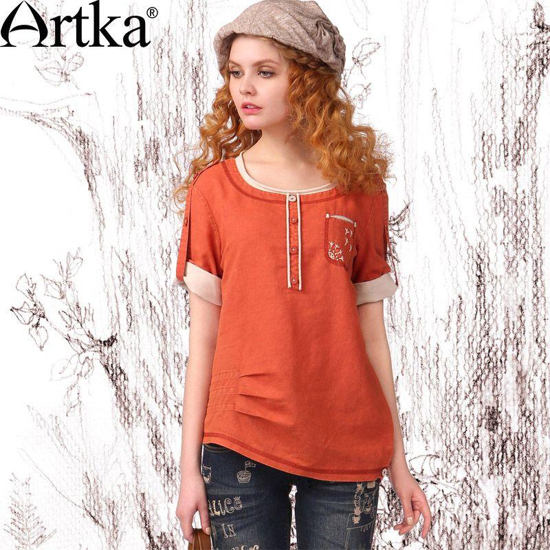 Artka Women S Summer Formal O-Neck Short-Sleeve Roll-Up Hem Embroidery  Patchwork 296c68c541a9a