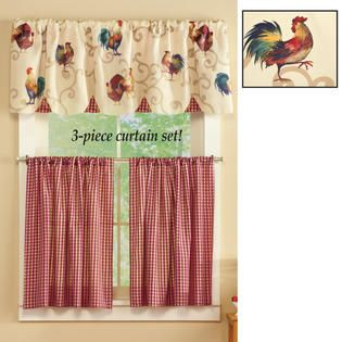 14 Curtains With Chicken Rooster Designs Ideas Curtains Kitchen Curtains Design