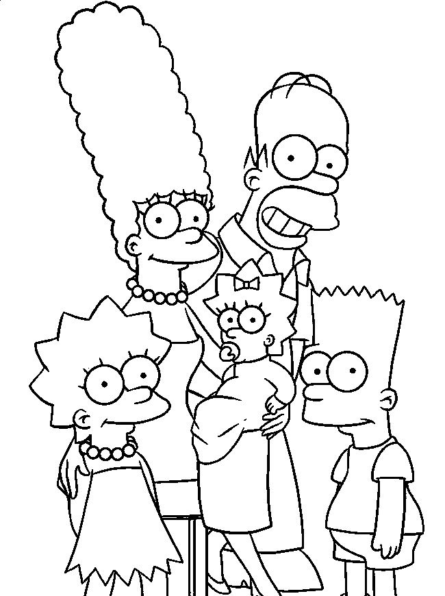 Simpsons Family Coloring Pages For Kids Grj Printable Simpsons Coloring Pages For Kids Family Coloring Pages Cartoon Coloring Pages Simpsons Drawings