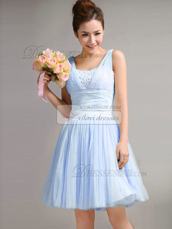 A Line Straps Draped Short Light Sky Blue Bridesmaid Dresses