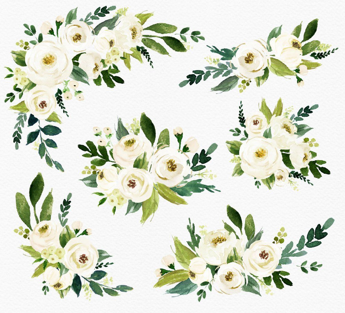 White Flower Small Set Individual Png Files Hand Painted Wedding Design Bohemian Rustic In 2021 Floral Watercolor Watercolor Flower Illustration Watercolor Flowers
