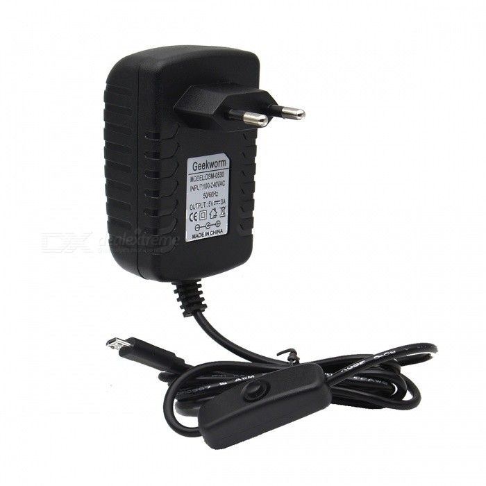 Geekworm DC 5V 3A Power Adapter with Switch for Raspberry Pi (EU Plug). Find the cool gadgets at a incredibly l