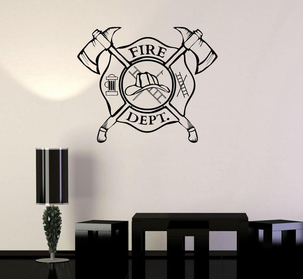 Vinyl wall decal fire department emblem shield firefighter vinyl wall decal fire department emblem shield firefighter stickers ig3240 amipublicfo Gallery