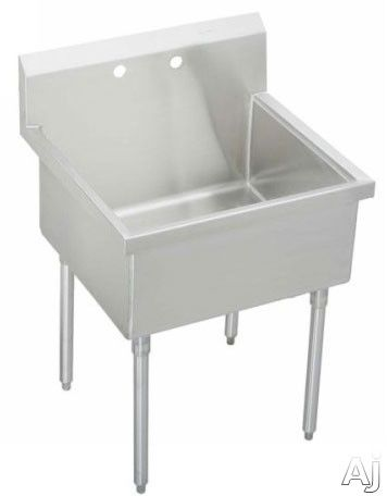 Elkay Pla8136 39 Inch Free Standing Utility Sink With 14 Inch Bowl Depth 14 Gauge Stainless Steel Construction Lustrous Satin Finish 8 Inch Backsplash And Ad Elkay Stainless Steel Utility Sink Utility Sink