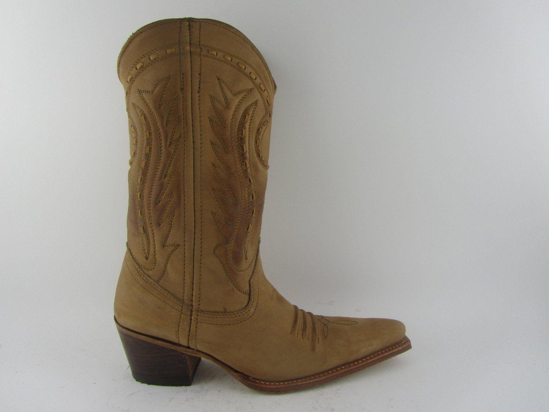 LOBLAN 1070 Tan Cebada Waxy Leather Ladies Cowboy Boots