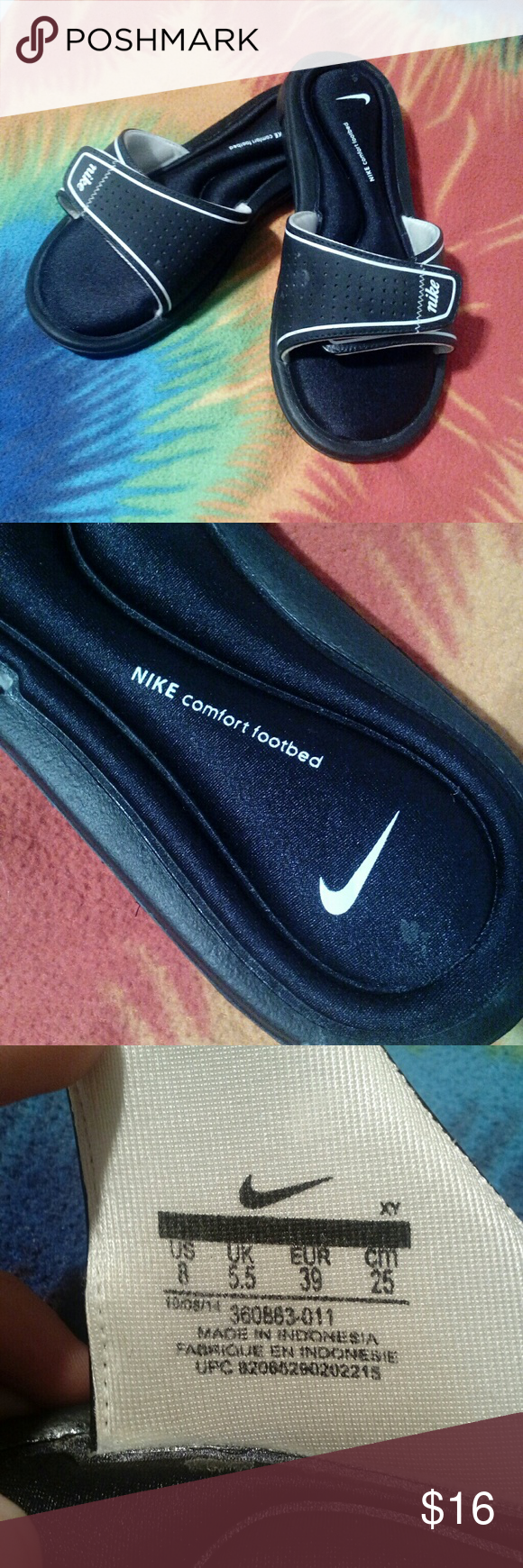NIKE Comfort slides Great condition, super comfortable NIKE slides. Size 8, Runs small. Nike Shoes Sandals