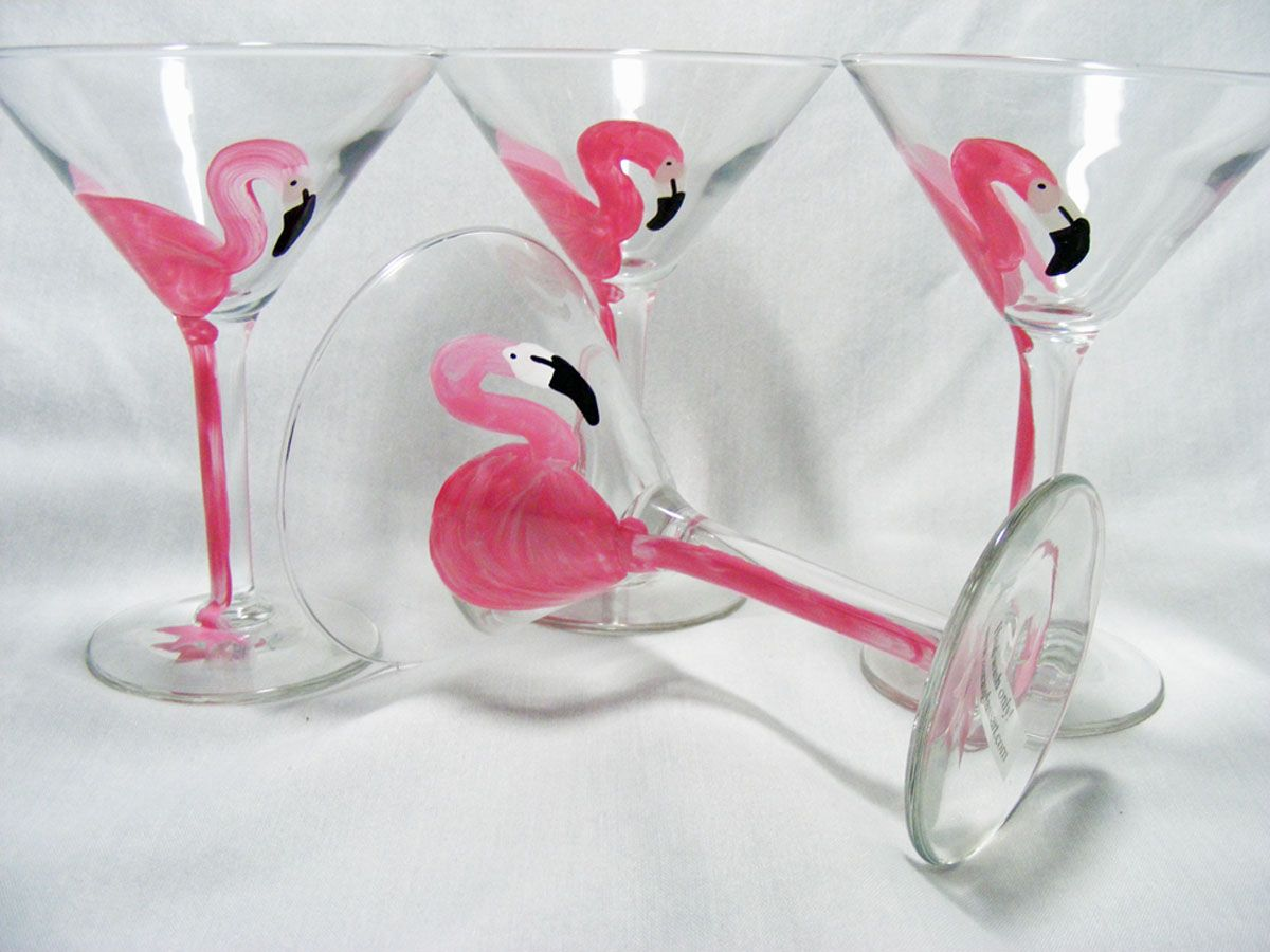 Hand Painted Pink Flamingo Stemware
