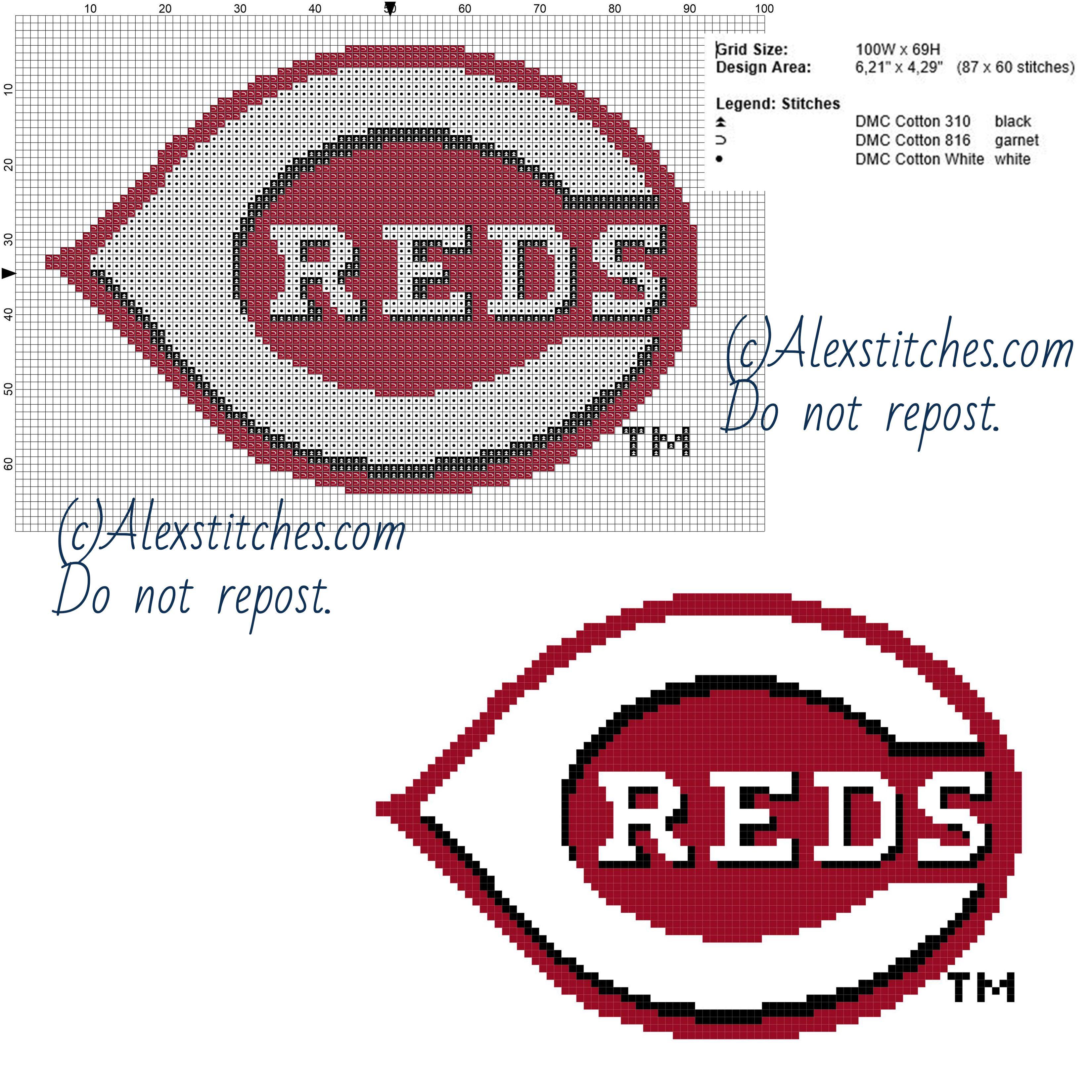 Cincinnati Reds Free Logo Major League Baseball Mlb 100x69 3 Colors Free Cross Stit Cross Stitch Patterns Free Red Cross Stitch Baseball Cross