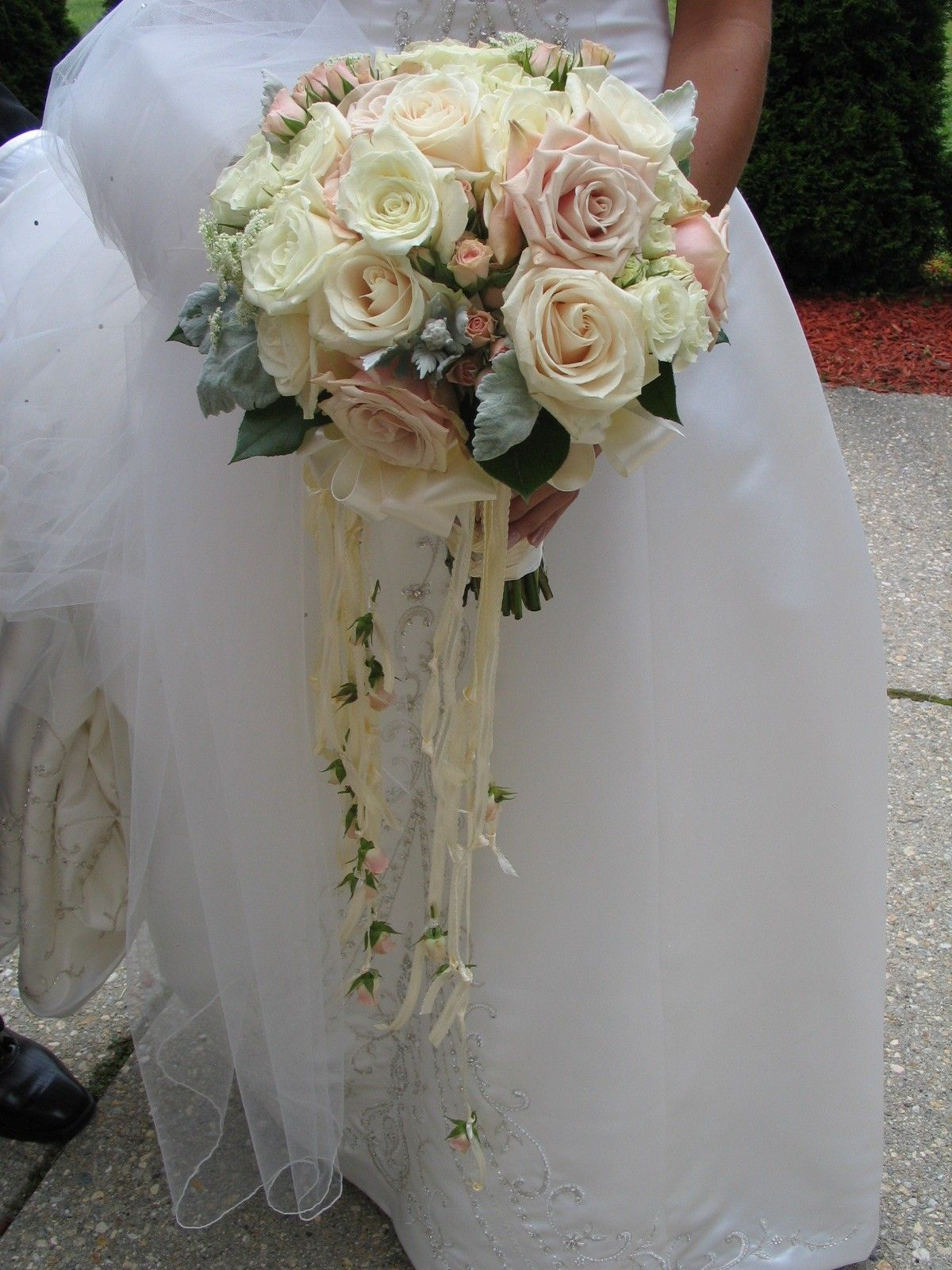 Blush Pink And Cream Vintage Wedding Bouquet Trailing Ribbons By