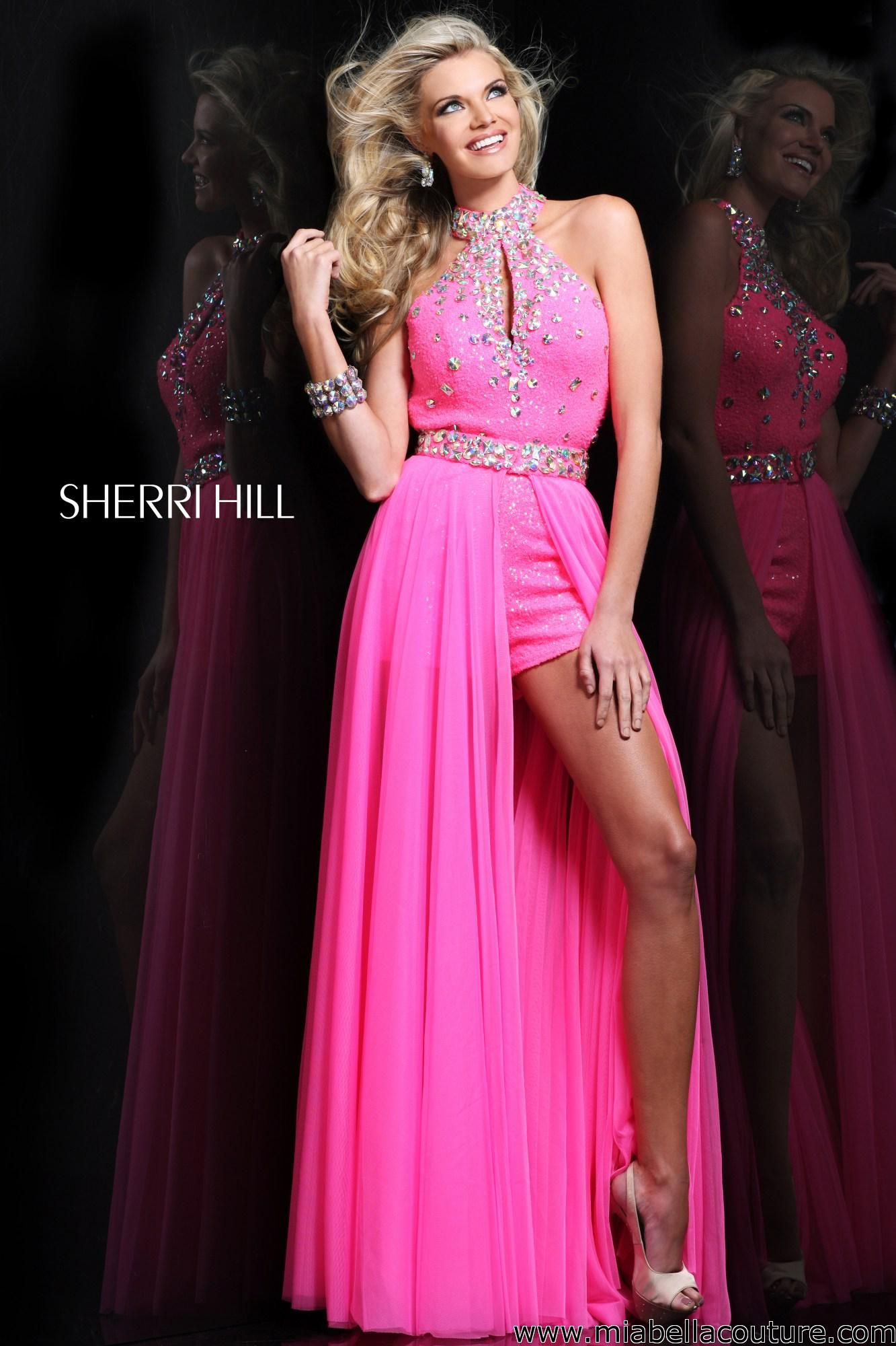 Sherri Hill style # 2975... This halter dress features a flowy skirt ...