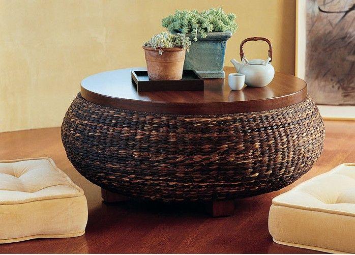 Rattan Coffee Table With Wooden Top Muebles Con Llantas
